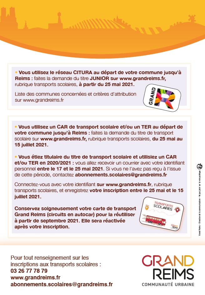 TRANSPORTS SCOLAIRES 2020/2021 GRAND REIMS